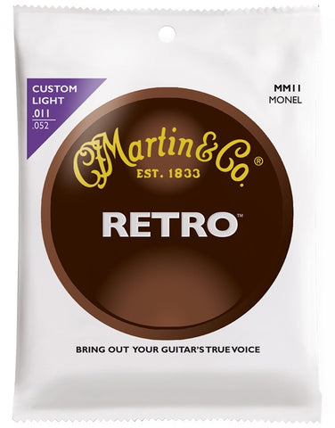 Martin Retro Monel Acoustic Guitar Strings, Custom Light (11 - 52) - Set of 4