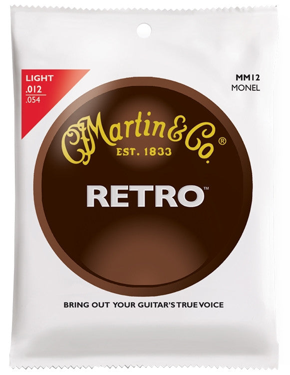 Martin Retro Monel Acoustic Guitar Strings, Light (12 - 54) - Set of 4