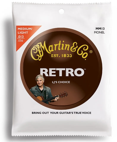 Martin Retro Monel Acoustic Guitar Strings, Medium/Light (13 - 56) - Set of 4
