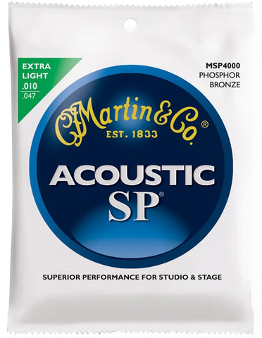 Martin SP Phosphor Bronze Acoustic Guitar Strings, Extra Light (10 - 47) - Set of 4