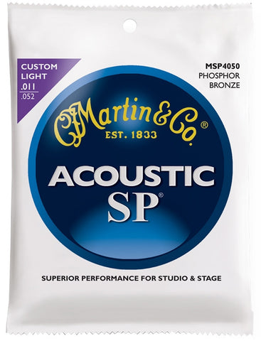 Martin SP Phosphor Bronze Acoustic Guitar Strings, Custom Light (11 - 52) - Set of 4