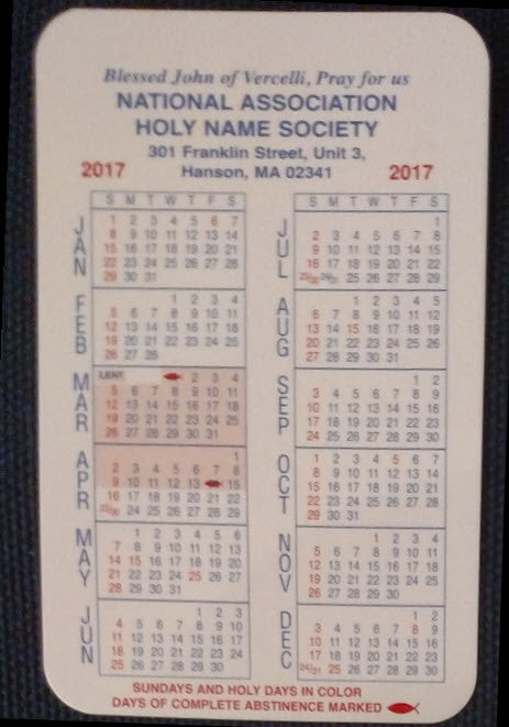 2017 HNS Pocket Calendars - Now Available