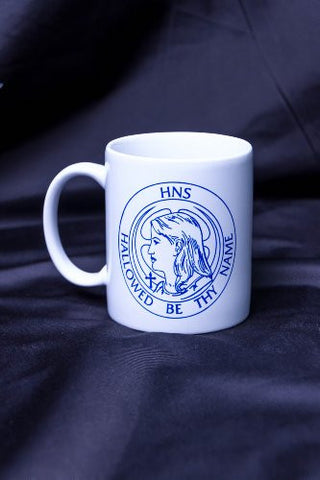850 HNS Coffee Mug, white with blue text