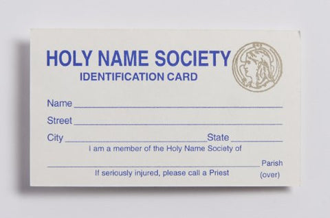 707 Holy Name Identification Card, pack of 100