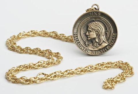 "614 Holy Name Medallion 1 3/8"" Diameter on Chain"