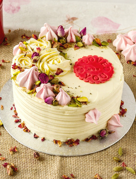 Personalised collection:  Rose, Pistachio and Cardamom Cake