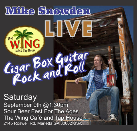 Cigar Box Guitar music with Mike Snowden at the Wing Cafe and Tap House LIVE!