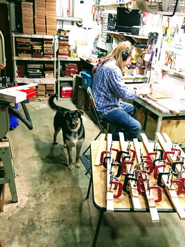 Mike Snowden hard at work on his handmade cigar box guitars at Snowden Guitars.