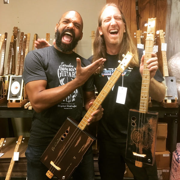 Khary Payton aka King Ezekiel from the hit show The Walking Dead with Mike Snowden of Snowden Guitars