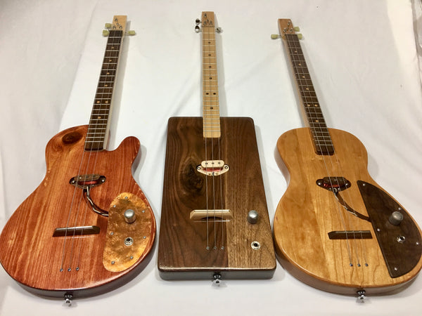 Handmade Solid Body Electric 3 String guitars by Mike Snowden of Snowden Guitars.