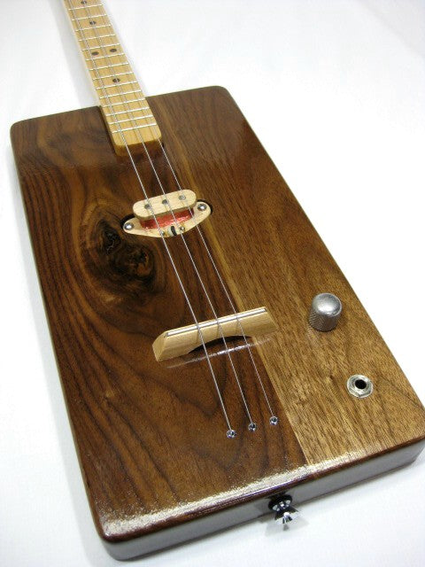 Solid Body 3 String Electric Walnut Guitar #SB4 and Gig Bag