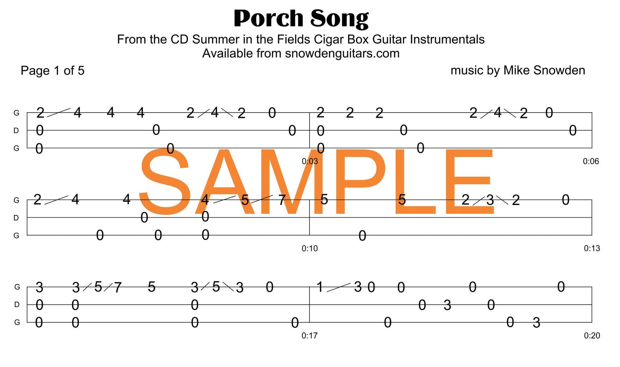 Porch Song Tab PDF Download