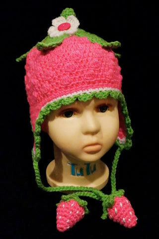 Crochet Strawberry Blossom Earflap Hat