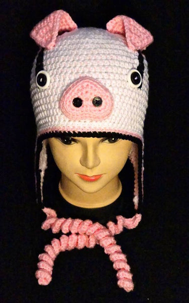 Crochet Bryson the Pig Earflap Hat