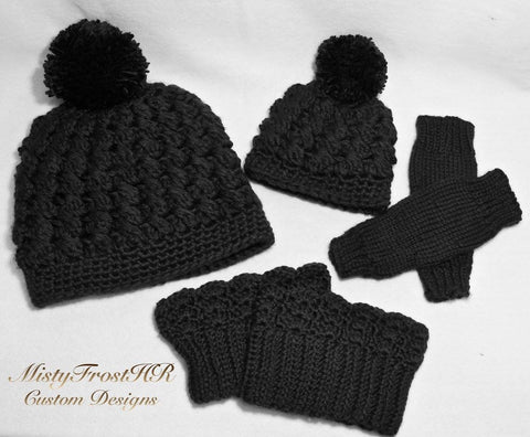 Mommy & Baby Matching Hats with Boot Cuffs and Leg Warmers Set