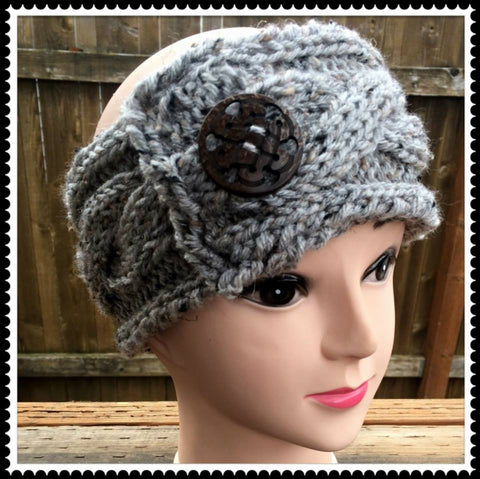 Chunky Knit Side Button Headband/Earwarmer