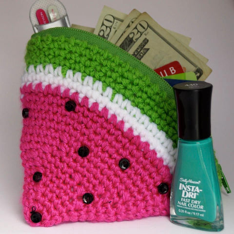 Watermelon Crochet Zipper Pouch