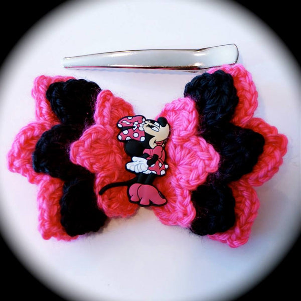 Crochet Minnie Mouse Hair Clip