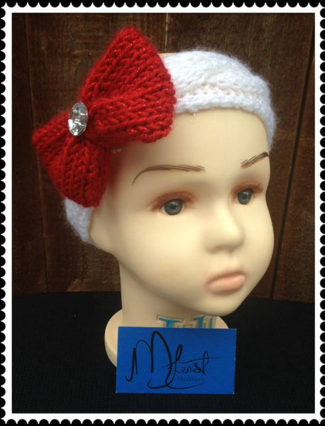 Cable Knit Headband w/Bow