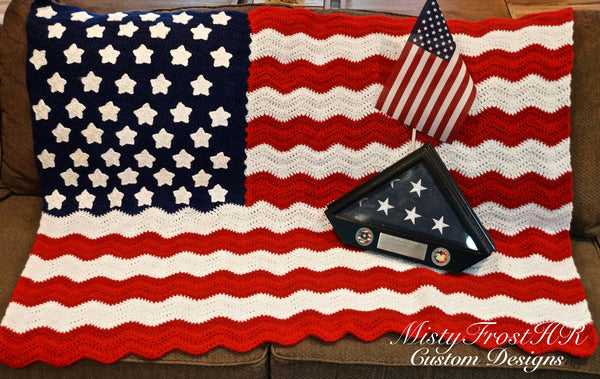 American Flag Crochet Throw