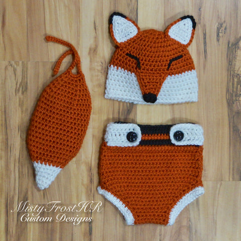 *****     Digital Crochet Pattern     *****     Kajika The Fox Hat & Diaper Cover