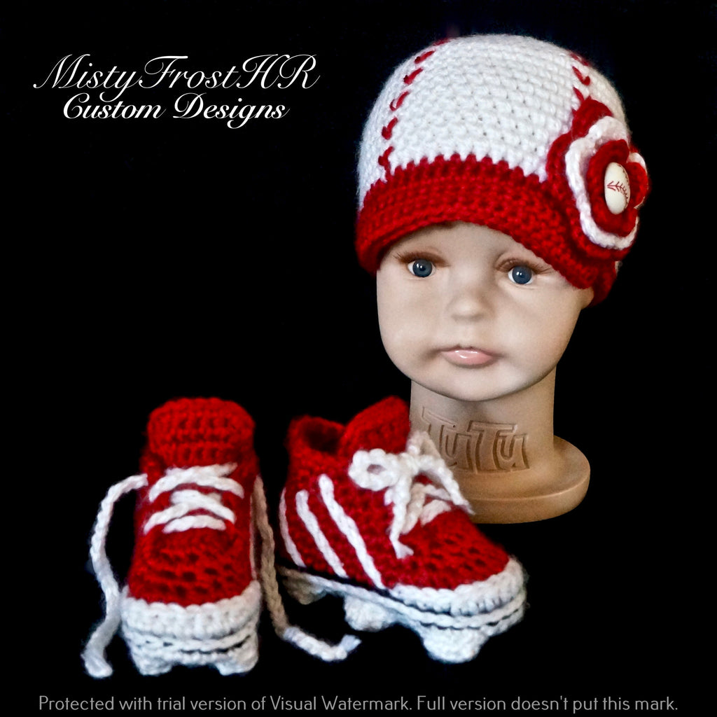 Digital Crochet Pattern ***** Infant Baseball Cap with Cleats ...