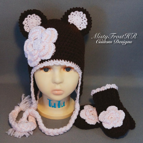 Bear Earflap Hat with Matching Gloves