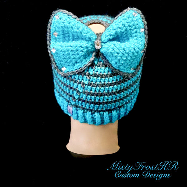 *****     Digital Crochet Pattern     *****     Bowdacious Bun Hat