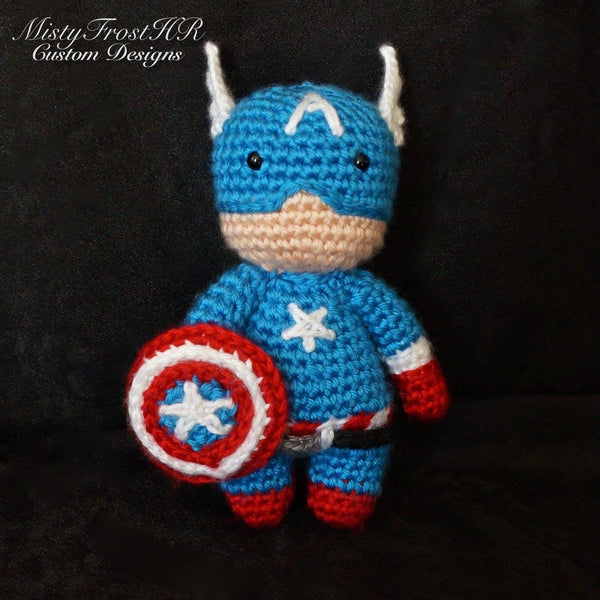"*****     Digital Crochet Pattern     *****     Captain America 6-7"" Plush Doll"