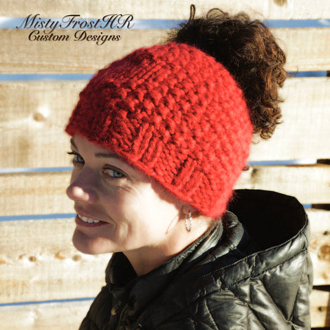 *****     Digital Knit Pattern     *****     Chunky Love Messy Bun Hat