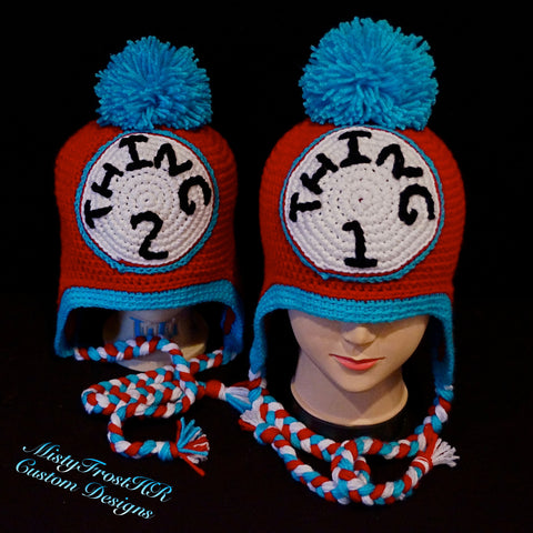 Thing 1 or Thing 2 Crochet Earflap Hat