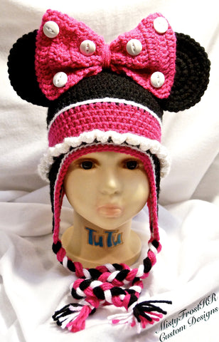 Minnie Mouse Inspired Crochet Earflap Hat