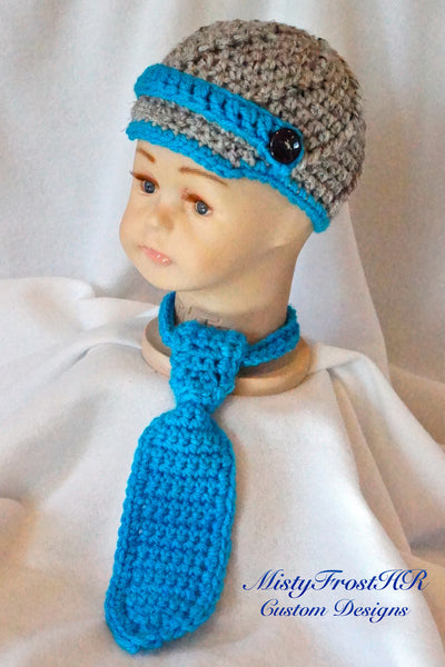 Newsboy Cap with Tie Set