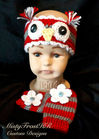 Crochet Infant Owl Headband & Legwarmers Set