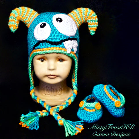 Crochet Monster Hat & Shoes Set