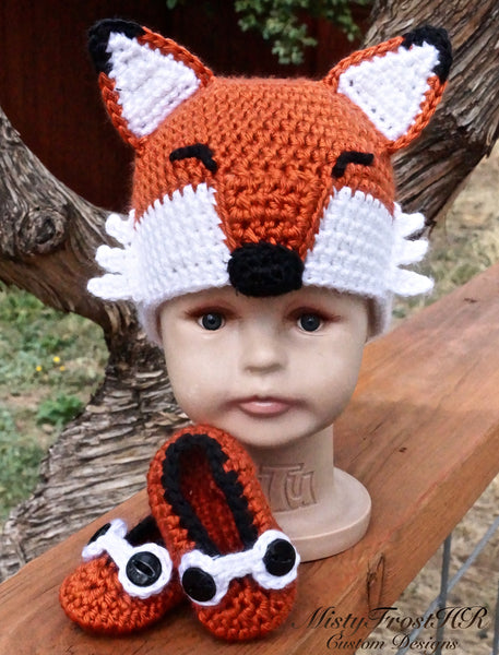 Crochet Infant Fox Hat & Shoes Set