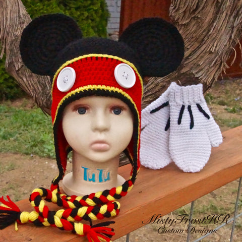 Mickey Inspired Crochet Earflap Hat w/Gloves