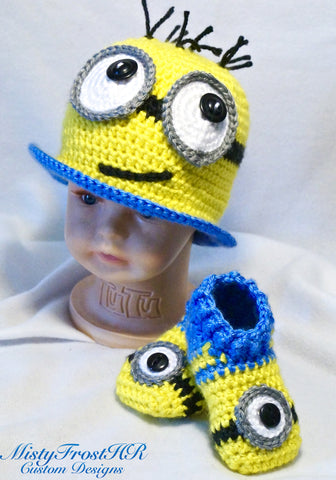 Meni Monster Crochet Top Hat & Shoe Set