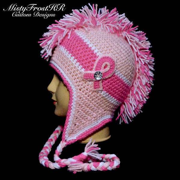 Cancer Awareness Crochet Earflap Hat Mistyfrosthr