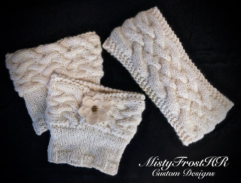 Woven Cables Boot Cuffs & Headband - Made from 100% pure alpaca
