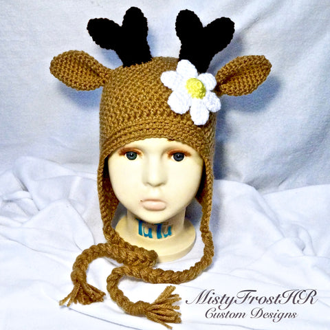 Deer Crochet Earflap Hat