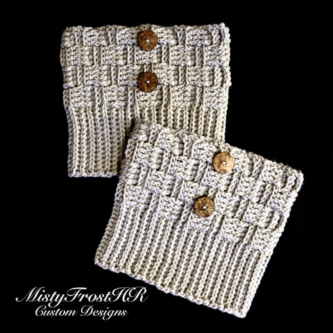*****     Digital Crochet Pattern     *****     Basket Weave Boot Cuffs