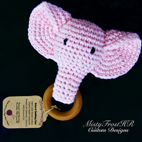 *****     Digital Crochet Pattern     *****     Ellie The Elephant Teething Ring