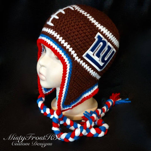 *****     Digital Crochet Pattern     *****     Football Earflap Hat