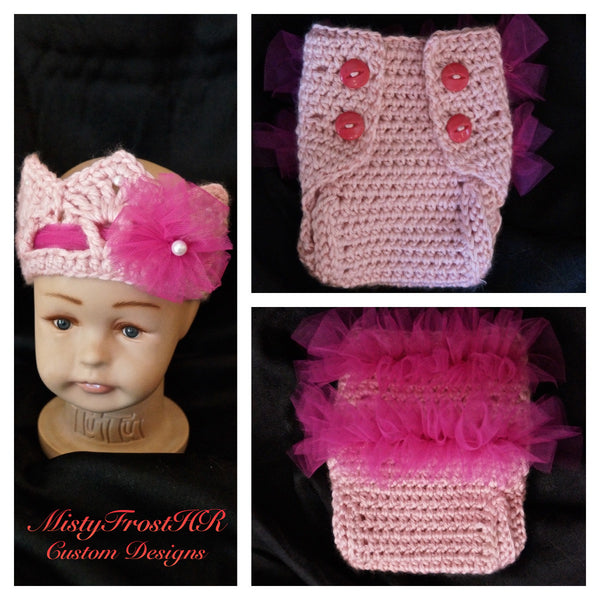 Crochet Infant Diaper Cover & Crown Set