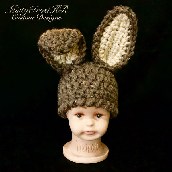 *****     Digital Crochet Pattern     *****     Chunky Long Ear Bunny Hat