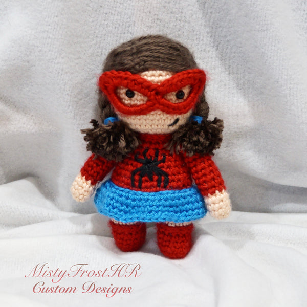 "*****  Digital Crochet Pattern  ***** Spider Girl 6"" Plush Doll"