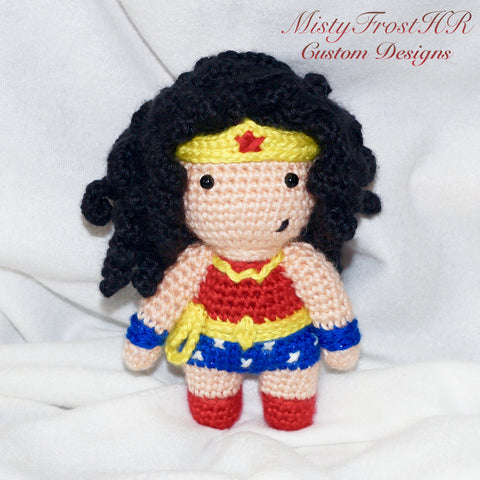 "*****     Digital Crochet Pattern     *****     Wonder Girl 7"" Plush Doll"