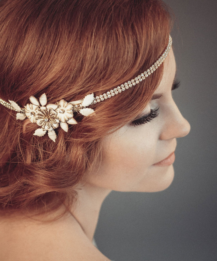 1920s wedding headpiece, Gold hair chain