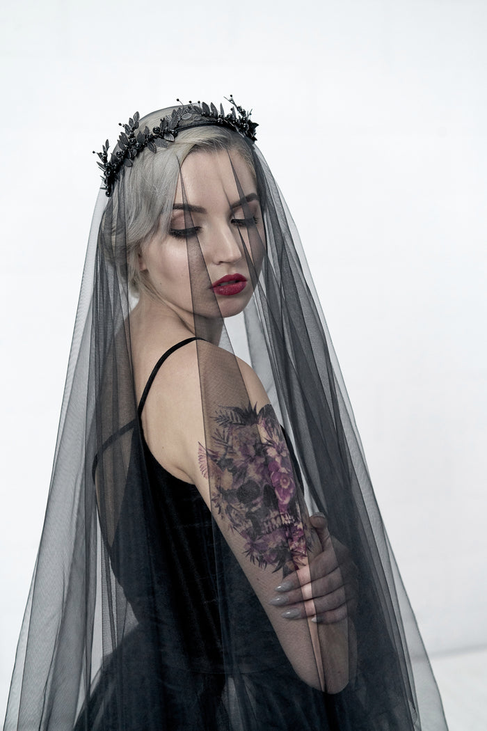black wedding veil drop style